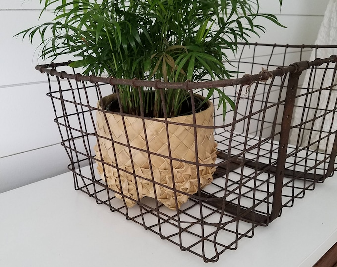 Vintage metal bike baskets