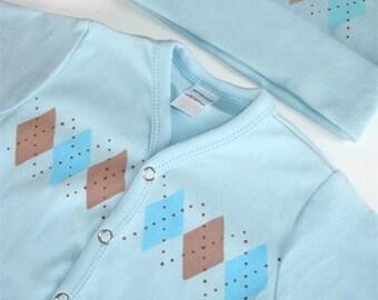 Newborn Gift Set for Baby Boy - Blue Argyle 5pc.