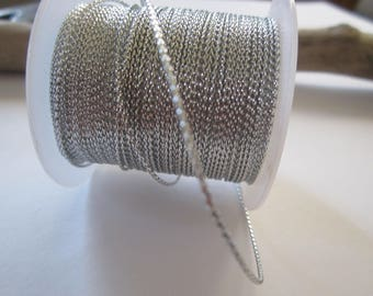 1 meter of lurex silver 0.8 mm twisted nylon thread