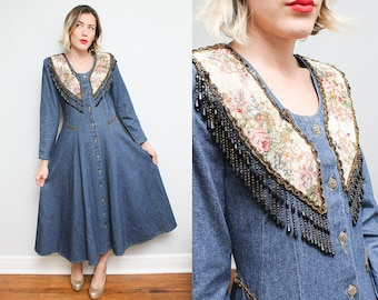 Floral Beaded Fringe Denim Dress // 80s 90s Jean Button Down Boho Maxi Dress // Western Sequin Full Length Size Small Medium