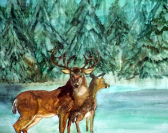 Art, Painting, Water Color, (Magic Snowfall),Professionally Framed, Wall Art, Deer, 22x18inches