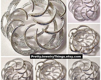 Sarah Coventry Frosted Curl Bands Pin Brooch Silver Tone Vintage Large Round Open Curved Strands Smooth Tips
