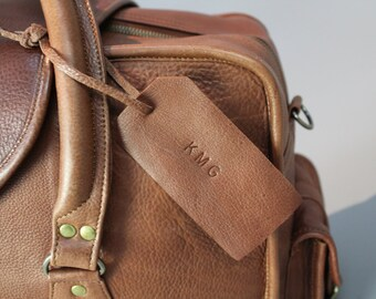 Leather name tag personalization gift monogram initials stamp bag luggage mens womens corporate luggage wedding favors fathers day present