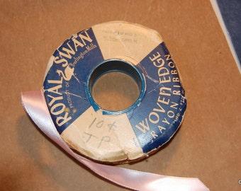 Royal Swan woven edge rayon ribbon  pink approx 35yds