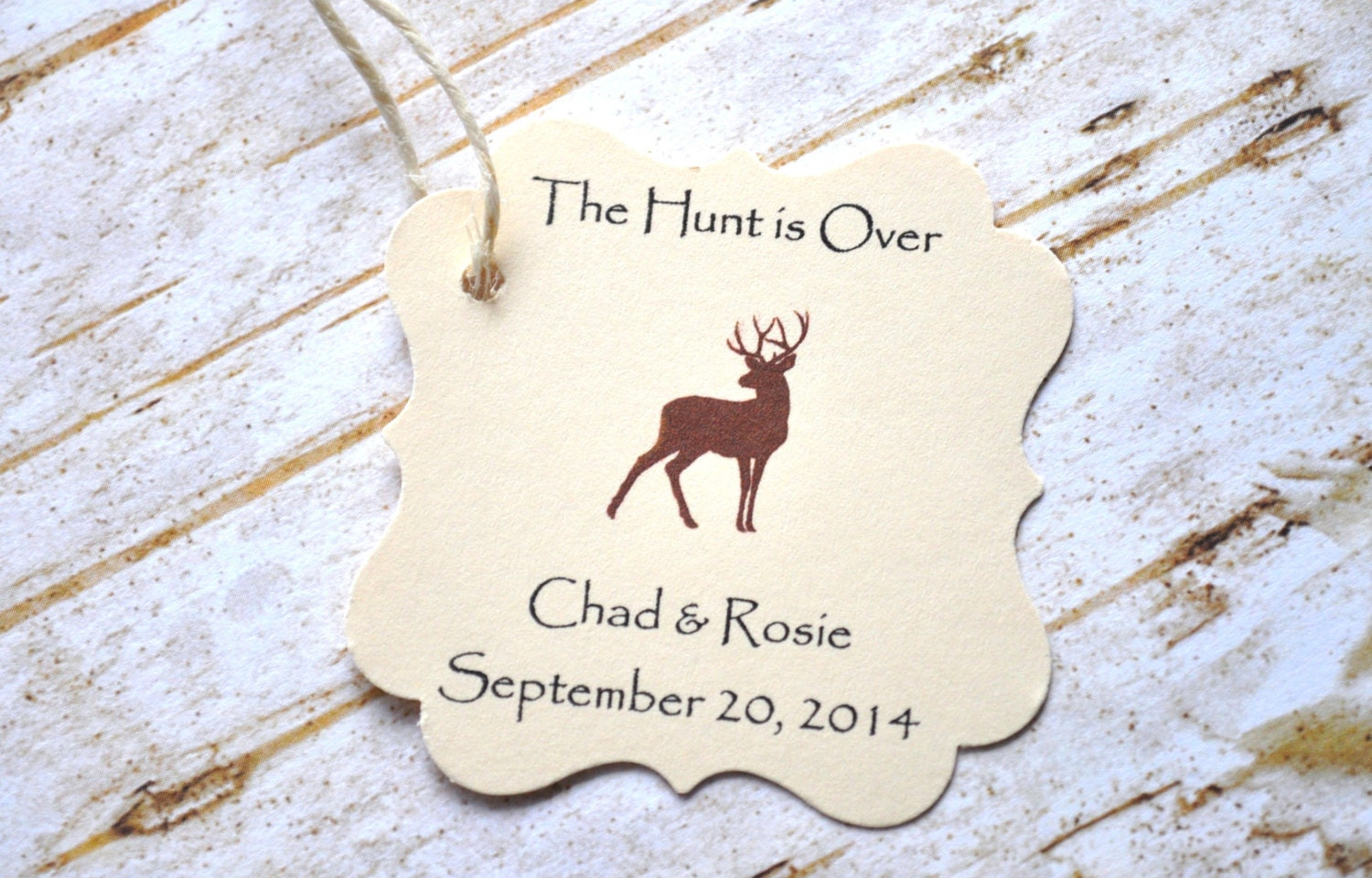 The Hunt is Over Favor Tags Wedding Favors Deer Favor Tags