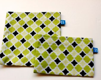 Reuseable Eco-Friendly Set of Snack and Sandwich Bags in Green Quatrefoil Fabric