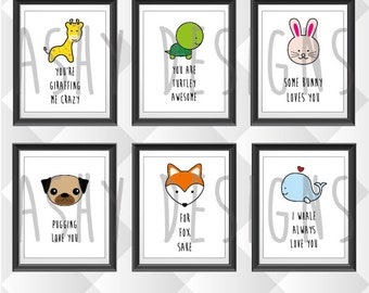 SET OF 6 Wall Artwork Posters - 8x10 Inch 20x25cm - Nursery Bedroom Art for Baby Girl Boy Newborn - Colourful Birthday Present Gift - APS06