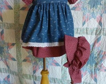 Wine Floral Girl's/ Toddler Dress, Pinafore and Bonnet Set - 1T