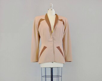 40s Jacket // 1940s Constructed Gabardine Jacket in Tan & Brown // Medium