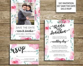 Beautiful Blooms Wedding Invitation, Save the Date, RSVP