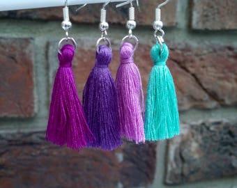 Tassel earrings purple or mint