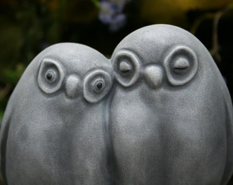 Owl Couple Garden Statue - Owl Only Have Eyes for You - Concrete Art Sculpture