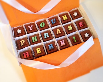 Message in Chocolate - Personalized Candy Gift - Unique Gift for Him - Unique Gift for Her -  Personalized Chocolate - Chocolate Gift