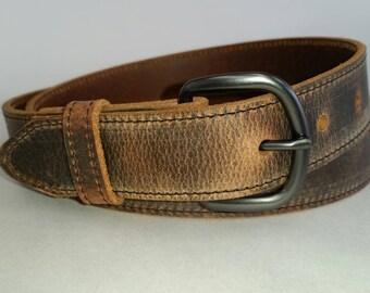 "1-1/4""  Stitched  Genuine Water Buffalo Leather Belt"