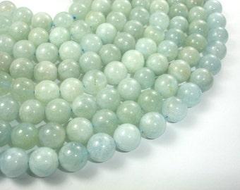 Genuine Aquamarine Beads, Round, 10mm, 15.5 Inch, Full strand, Approx 39 beads, Hole 1 mm (123054010)
