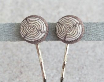 Log, Fabric Covered Button Bobby Pin Pair