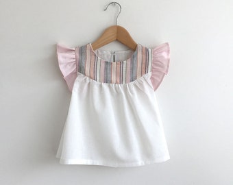 girls cotton blouse with woven stripe detail