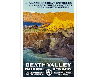 "Death Valley National Park Poster, WPA style 13"" x 19"" Signed by the artist. Color. FREE SHIPPING!"