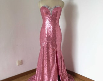 Mermaid Sweetheart Hot Pink Sequin Long Prom Dress 2017 with Slit