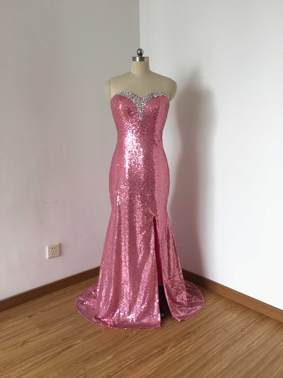 Mermaid Sweetheart Hot Pink Sequin Long Prom Dress 2017 with