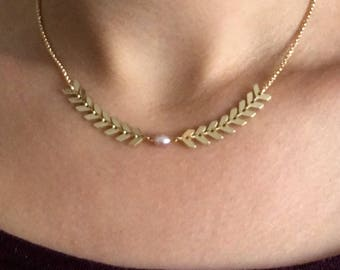 Ear of wheat gold NECKLACE / pink Freshwater Pearl / gold plated