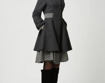 long jacket, dark grey coat, wool coat, midi coat, hooded coat, long coat with houndstooth fabric, winter jacket, fit and flare coat 1113