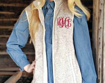 Monogrammed Charles River Vest, Heathered Oatmeal Fleece Vest E2