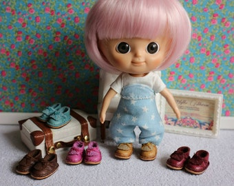 Leather fringed shoes for Mini Mui Chan