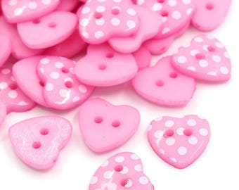 30 polka dot heart buttons , pack of 30 buttons, heart button 15mm , polka dot button, sewing button, pink buttons