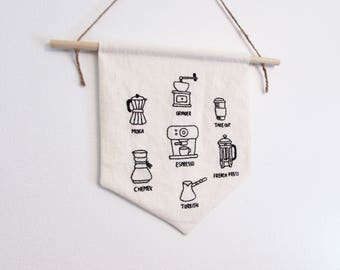 Coffee love hand embroidery pattern - PDF - Instant download