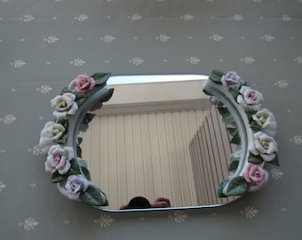 Drummers West Pastelle Rose Vanity Mirrored Tray,Perfume Tray, Dresser Tray with Ceramic 3D Pink, Yellow, White  Roses  6018