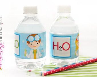 Kids Scientist Printable Water Bottle Wrapper, Science Party Bottle Labels, Instant Download, H2O Printable Water Bottle Wrappers, H2O label