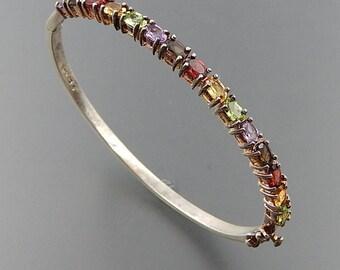 """Sterling silver oval multi gemstone cluster opening bangle bracelet 7.75"""" SKU 5552"""