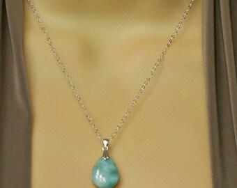 Larimar Necklace, Genuine Larimar Jewelry, Throat Chakra Stone Necklace, Blue Throat Chakra Necklace, Dolphin Stone Necklace
