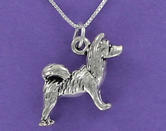 Akita Dog Necklace Sterling Silver on Card with Message--Perfect Gift