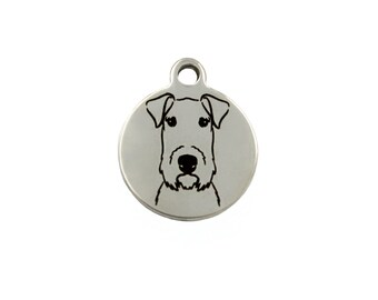 Airedale Terrier Charm, Airedale Terrier Jewelry, Stainless Steel Airedale Terrier Dog Charm, Gift for Airedale Terrier Owner