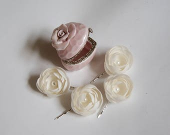 Handmade 4 silk Ranunculus flower hair clips