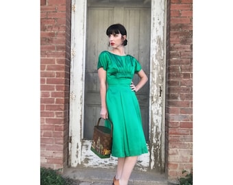 1950's Emerald Green Bombshell Dress by R&K Originals
