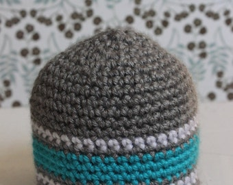 ON SALE! Newborn Gray Baby Hat with Blue and White Stripes