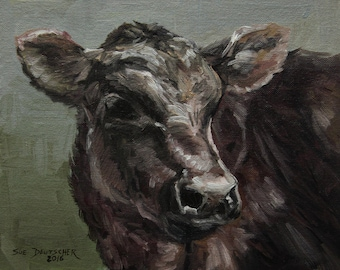 Black Angus calf print from painting