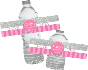 I Love Pink Bat Mitzvah Water Bottle Labels ~ *WATERPROOF* (Set of 20) Self-Adhesive Water Labels ~ Just Peel and Stick!