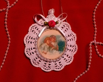 New Handmade Vintage Style Victorian Christmas Card Tree Ornament - Angels