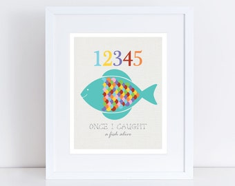 12345 fish - 10x8 print counting numbers nursery art colourful children kids baby girl or boy gender neutral wall art sea - rainbow bright