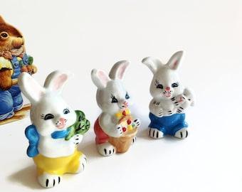 Vintage Bunny Figurines - Porcelain Bunny Rabbits - Easter Bunnies - Easter Decor - Baby Room Decor - Rabbit Decor