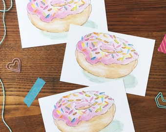Donut Postcard. Donut Stationary. Set of 3. Kitchen Art. Cute, Pink Donut Card. Watercolor Donut Illustration. Donut Lover. Thank You Note