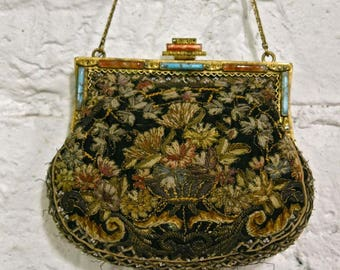 20s Embroidered Tapstry Purse with Carnelian Turquoise and Marcasites