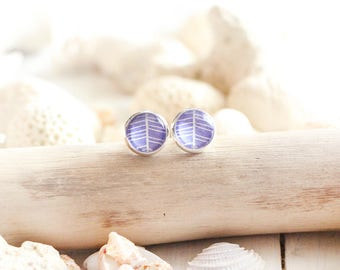 Acapulco stud earrings, purple graphic pattern, silver white base 10 mm, beach style, summer jewel, for women