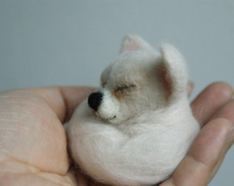 needle felted sleeping little dog White chihuahua brooch ,pin,doll house decoration.