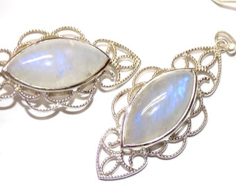 Rainbow Moonstone Drop Earring in .925 Sterling Silver