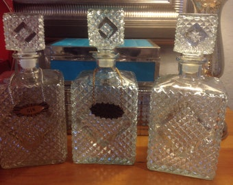 Set Of Three Vintage Hobnail Decanters With 2 Hang Tags